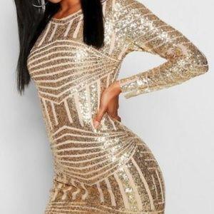 Boutique Beth Sequin Open Back Bodycon Dress